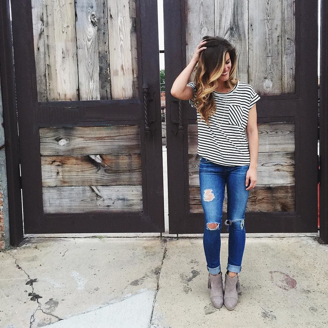 distressed denim, striped tee, ankle bootie outfit