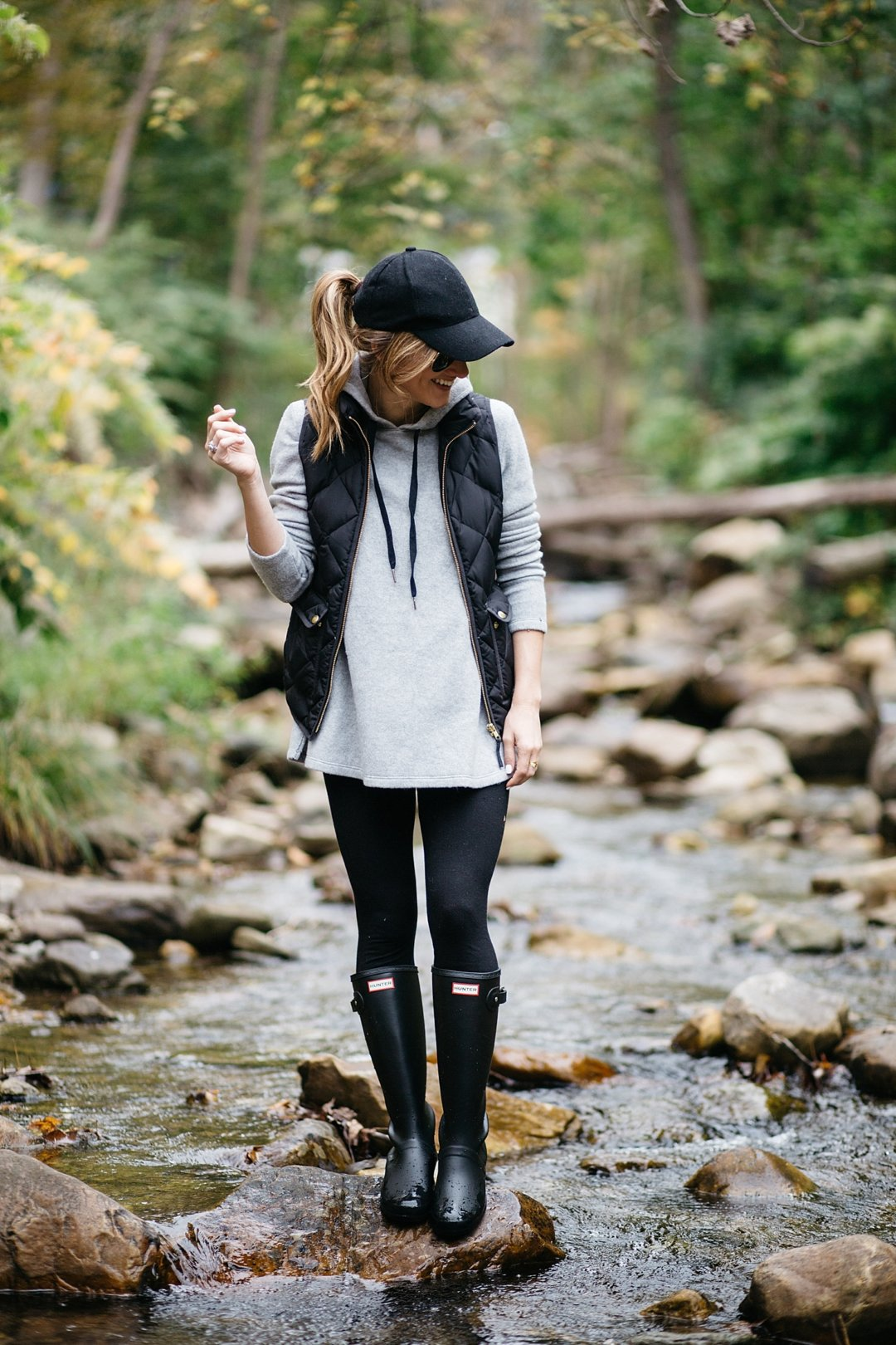 J. Crew Puffer vest and Hunter Boots
